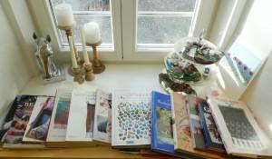 eine Auswahl meiner Bücher, zum Thema Perlen, Perlbeutel, Perlbeutel-Stricken